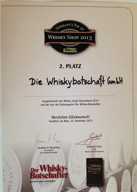 Urkunde best whisky shop 2013_WB