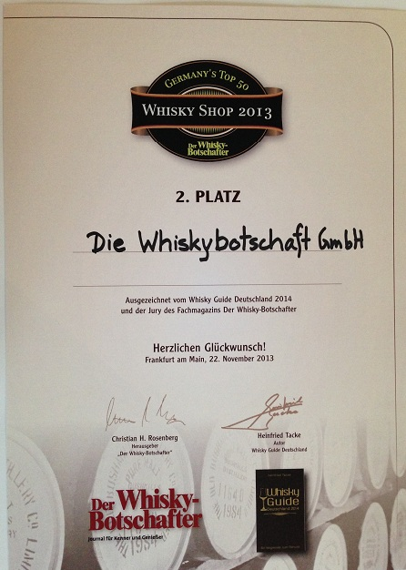 Urkunde best whisky shop 2013_WB